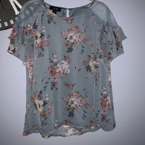 AGB green flowered top size medium